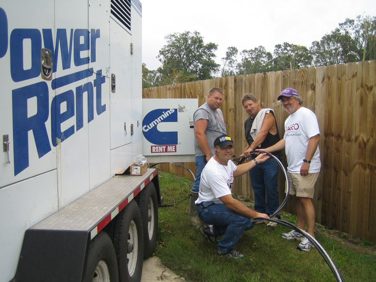 Hurricane Gustav Baton Rouge LA . Gary Galanis of the Bridge Foundation assists team to connect 250kw generator to power a water pumping station which will provide drinking water to local residents.