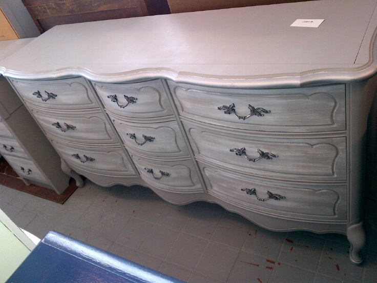 9 drawer french provincial paris grey, white straie,  graphite and silver on hardware