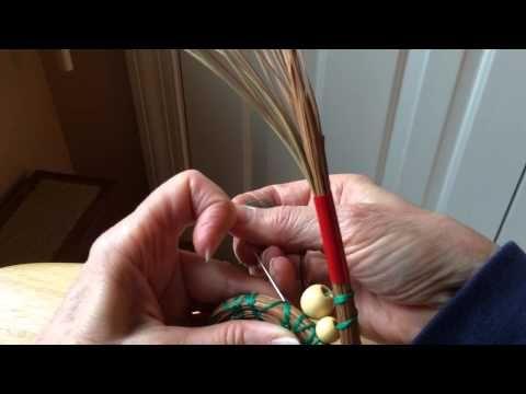 Inserting beads into pine needle baskets - YouTube