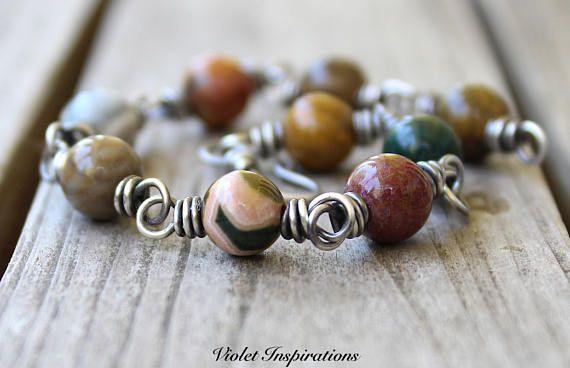 Ocean Jasper Bracelet / Wire Wrapped Bracelet / Sterling Silver Bracelet / Wire Wrapped Jewelry / Beaded Bracelet  / Ocean Jasper