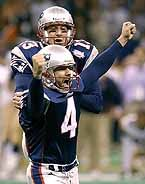 Super Bowl XXXVI | Adam Vinatieri's 48-yard field goal as time expired gave the New England Patriots their first Super Bowl title.    The Rams outgained the Patriots 427-267 in total yards, but the Patriots forced three turnovers, which resulted in 17 points, while committing no turnovers.