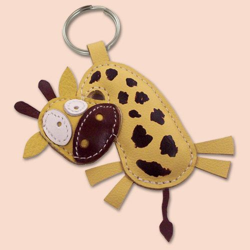 Sweet Yellow Giraffe Leather Animal Keychain by snis on Etsy, $14.00