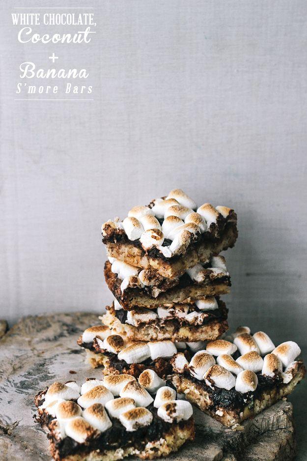 Gluten-Free White Chocolate, Coconut And Banana S'mores Bars | 33 Amazing Gluten-Free Desserts