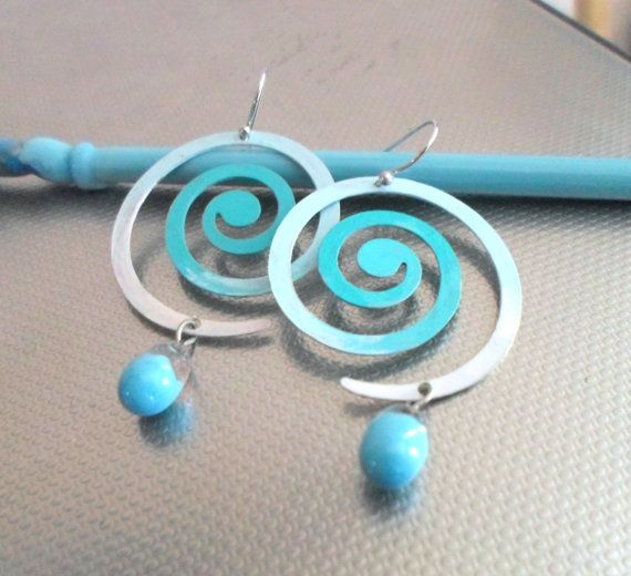 Handmade Earrings Spiral Patina Earrings Lampwork by CandanImrak