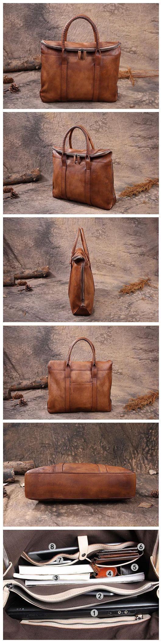Leather Briefcase Men's Business Bag Handbag Men Fashion Laptop Bag 14118 Overview: Design: Vintage Leather Men Briefcase In Stock: 4-5 days For Making Include: Only Leather Briefcase Custom: No Color