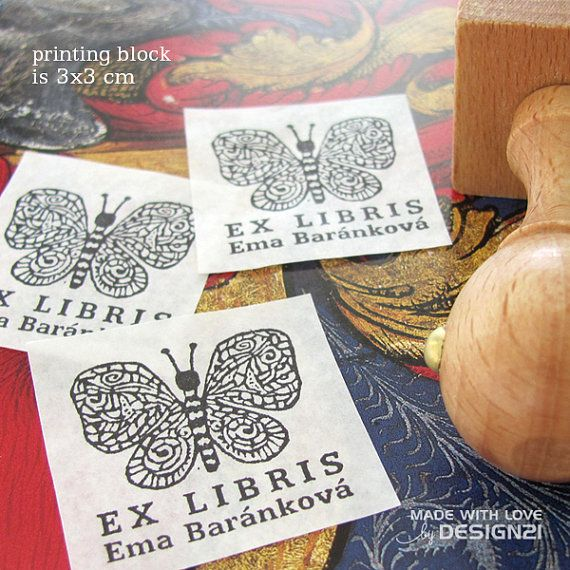 Butterfly: personalised rubber stamp 3x3 cm by lida21 on Etsy