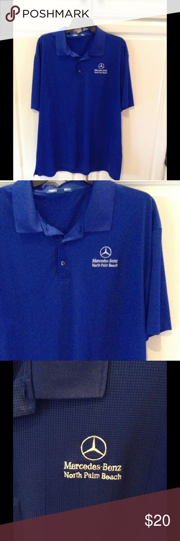 Cobalt Blue Mercedes Benz Shirt Cobalt blue polo style shirt that says Mercedes Benz, North Palm Beach with Mercedes emblem in white, collar is very pretty knit with three buttons down the front, pristine condition. Port Authority Shirts Polos