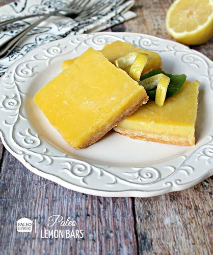 Paleo Lemon Bar recipe - PaleoCupboard.com