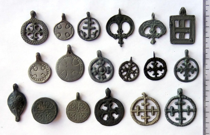 Ancient cross pendants, slavs & vikings amulets XI - XIII century