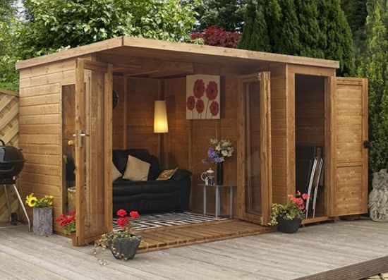 10' x 8' (approx) Sheriff Hallsworth Summerhouse with Side Shed