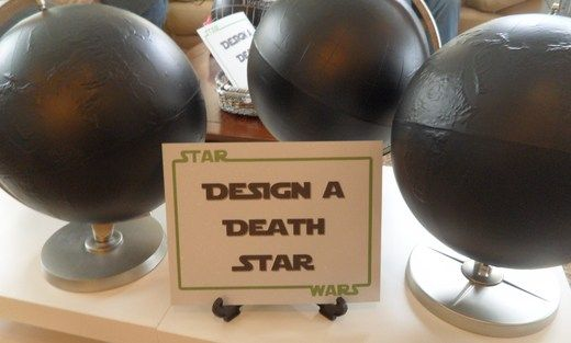 "Design a Death Star - chalkboard paint some globes, there's a basket of chalk and ""Death Star Destroyer"" erasers. cute activity for a star wars birthday party"