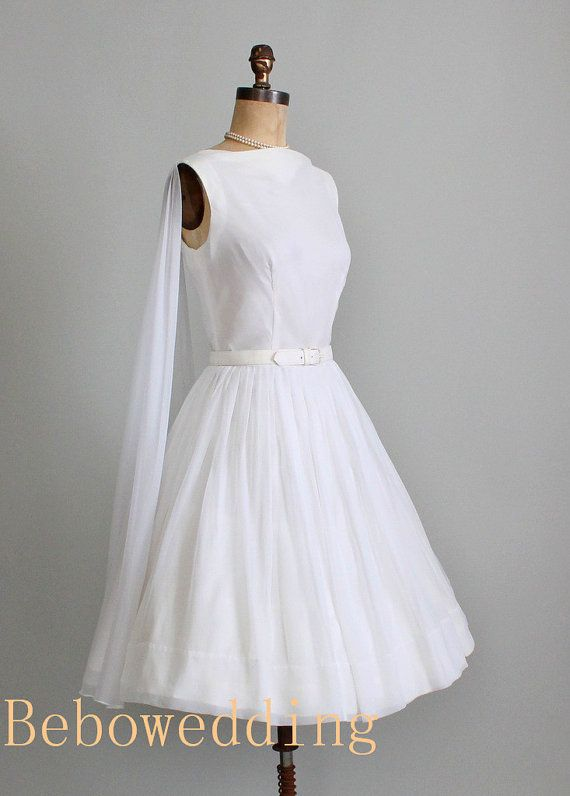 Vintage short satin chiffon knee length wedding by Bebowedding, $178.00