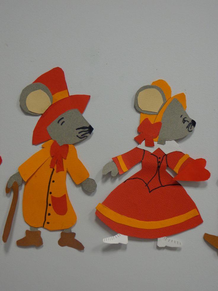 Frise de souris réalisées en découpage collage CP janvier.