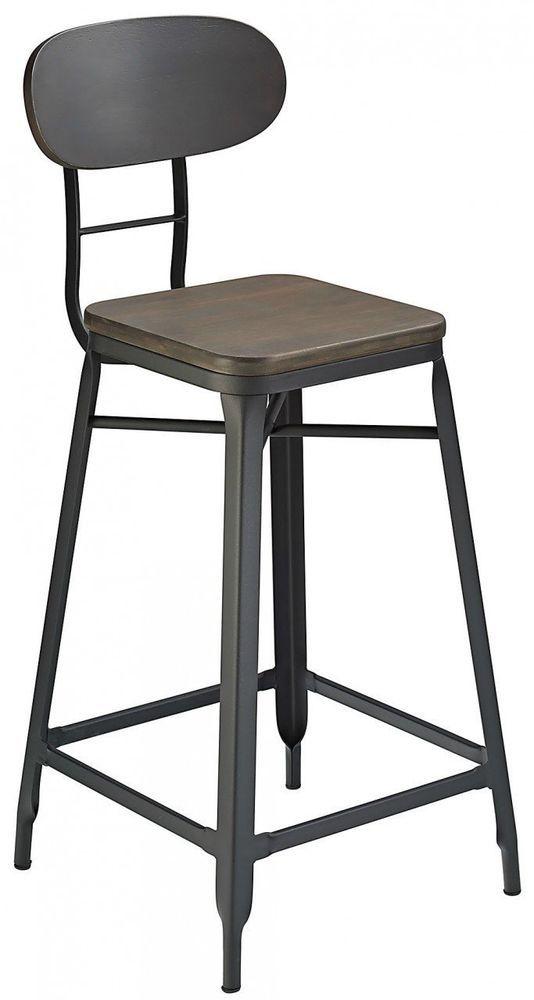 Industrial Bar Pub Stool Black Kitchen High Chair Seat Wood Metal Home Furniture