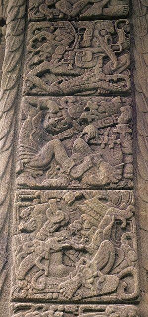 Quiriguá, jeroglíficos en la parte lateral de una estela