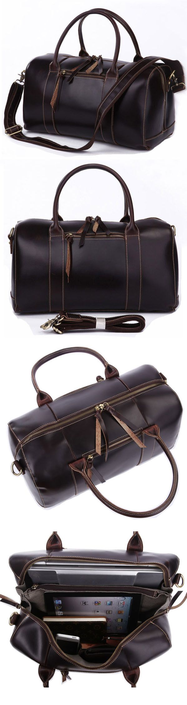 Handmade Antique Genuine Crazy Horse Leather Travel Bag Tote Messenger Bag Duffle Luggage Baggage