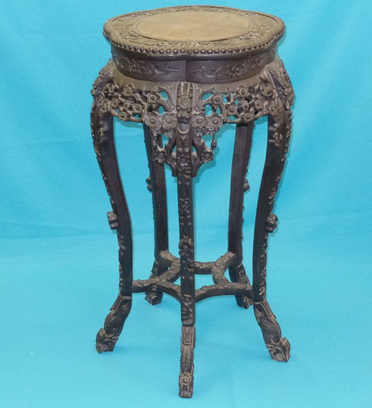 Details about ANTIQUE QING CHINESE HEAVY CARVED WOOD DRAGON MOTIF JARDINIERE STAND MARBLE TOP