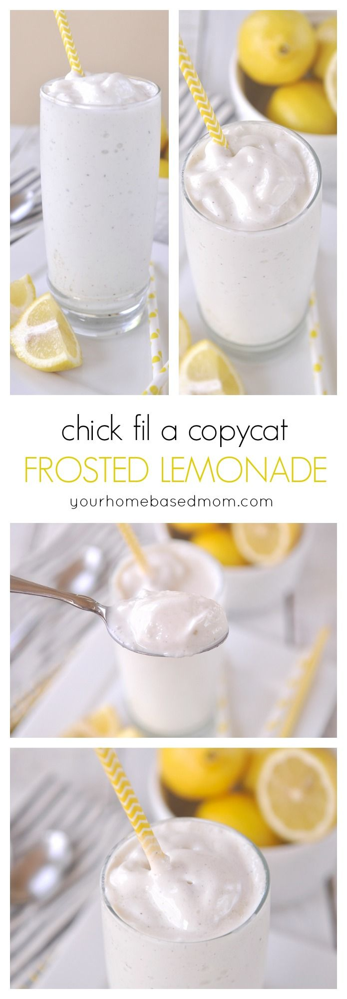 Enjoy a Chick fil A Copycat Frosted Lemonade on a warm summer day! Make it at home. Looks like a delicious treat!