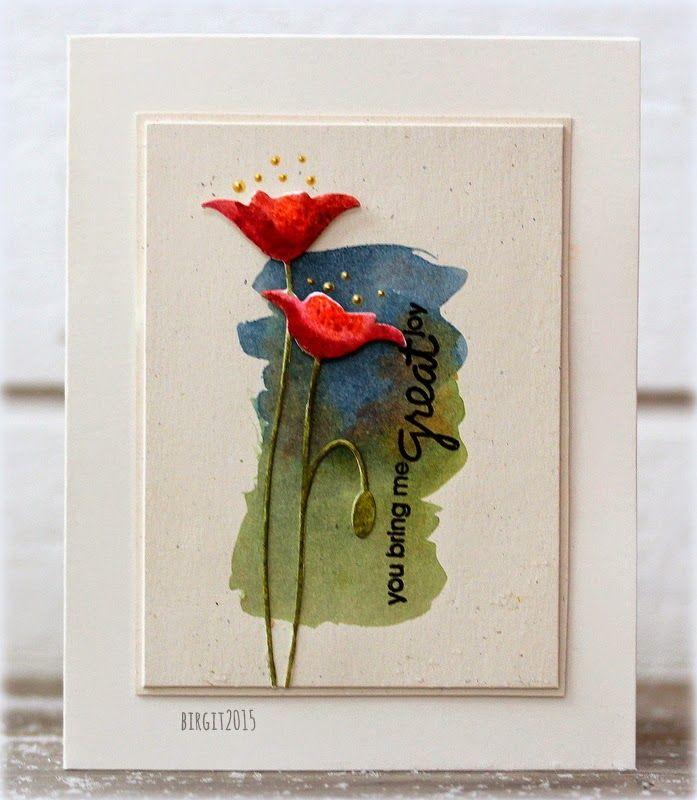 Idag ska jag hälsa på barnbarnen och det är det mysigaste som finns!Det är också min blogg dag på Pysslotekets blogg! Visar två kort idag med den fina dien Prim Poppy       Ha en skön söndag! Bazzill - Smoothies - Walnut CreamDistress Re-Inker/RefillMemory...