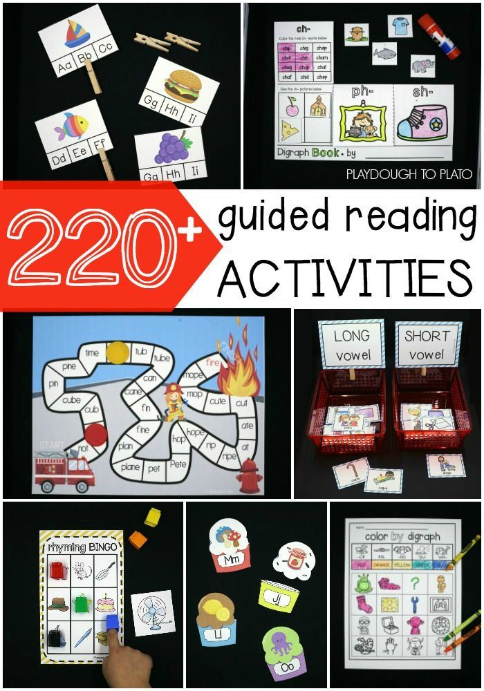 220+ awesome guided reading activities for preschool, kindergarten and first grade. ABC games, editable sight word activities, word work stations... tons of guided reading ideas!