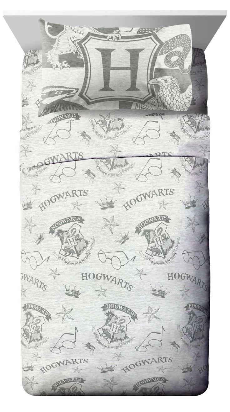 Harry potter hogwarts spellbound gray microfiber bed sheet