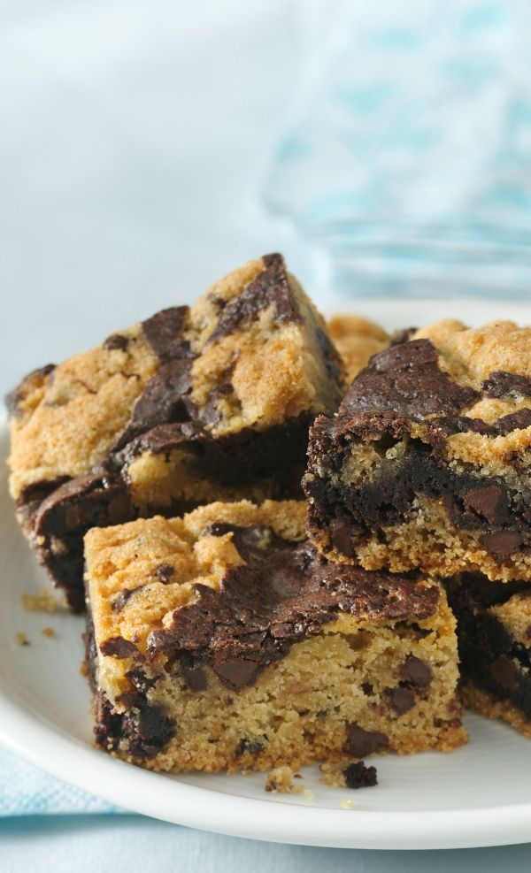 Chocolate chip cookie mix and brownie mix stir up into a delicious new Gluten Free dessert bar.