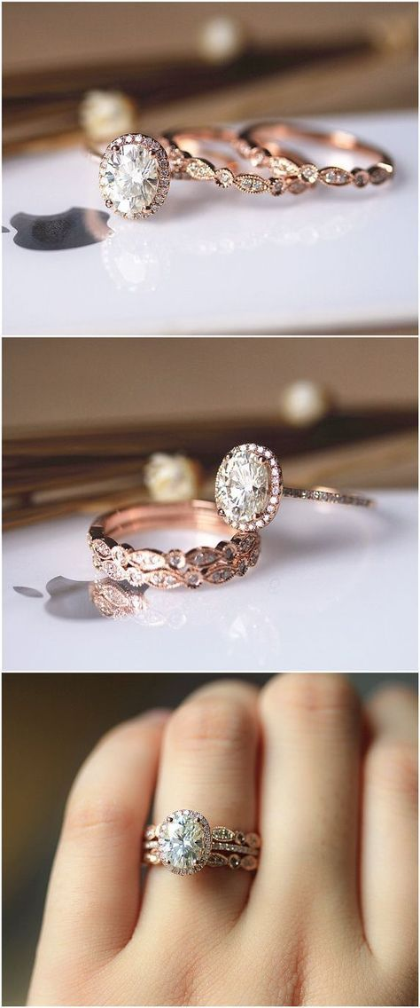 Like the bands on these not the center stone 3PCS Ring Set ! 6x8mm Oval Brilliant Moissanite Ring Set Wedding Ring Set Solid 14K Rose Gold Ring Set / / http://www.deerpearlflowers.com/rose-gold-engagement-rings/