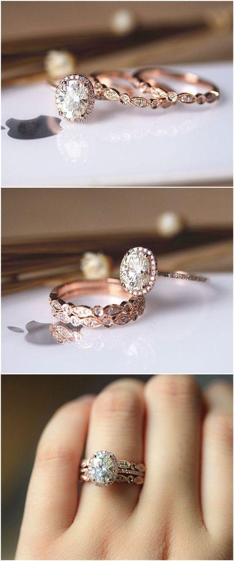 3PCS Ring Set ! 6x8mm Oval Brilliant Moissanite Ring Set Wedding Ring Set Solid 14K Rose Gold Ring Set / / http://www.deerpearlflowers.com/rose-gold-engagement-rings/