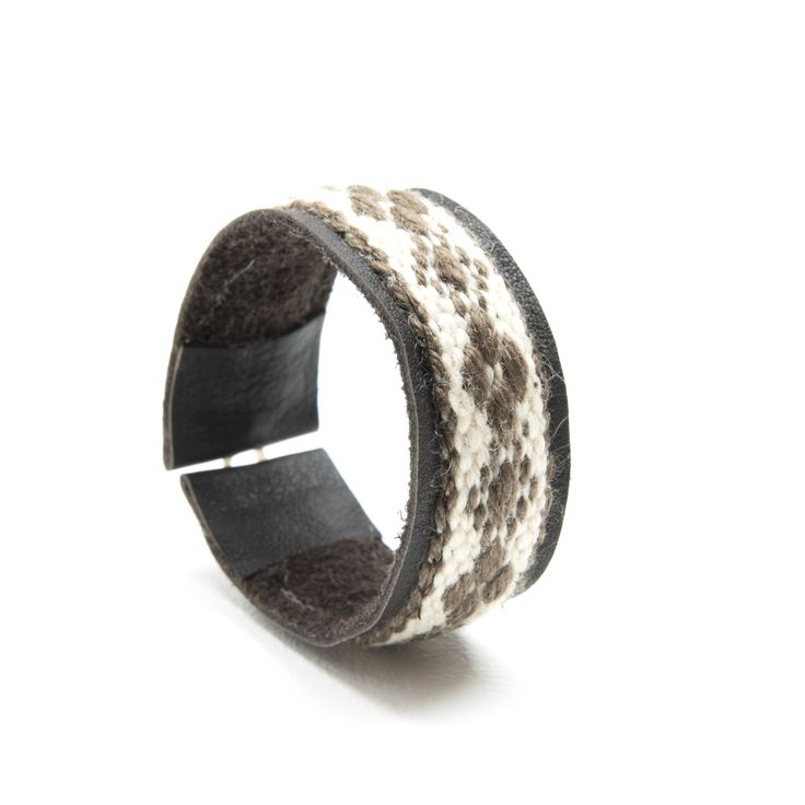 handmade bracelet from handwoven woolen band and up-cycled leather scrap
