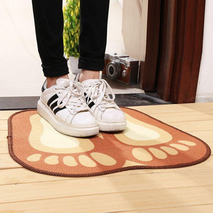 4*50cm Fashion Cartoon Orange Rugs Cute Footprints Big Feet Bath Mat For Kid Room Anti-slip Rug High Qulaity Kitchen Mats