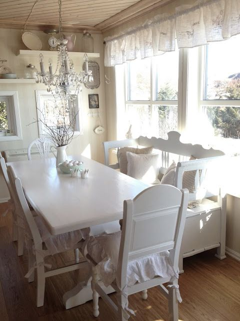 All White Shabby Chic Dining room