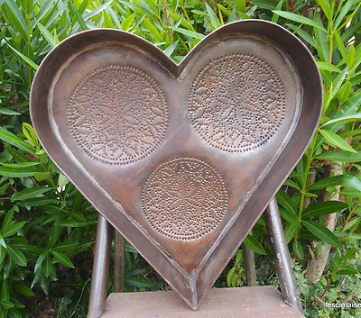 antique heart cheese strainer tin punched