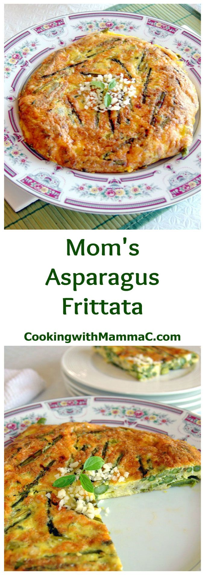 Mom's Asparagus Frittata is cooked on the stove, just like in Naples. Featuring Romano and Parmesan cheeses, eggs and garlic, this is gluten free and fantastic!
