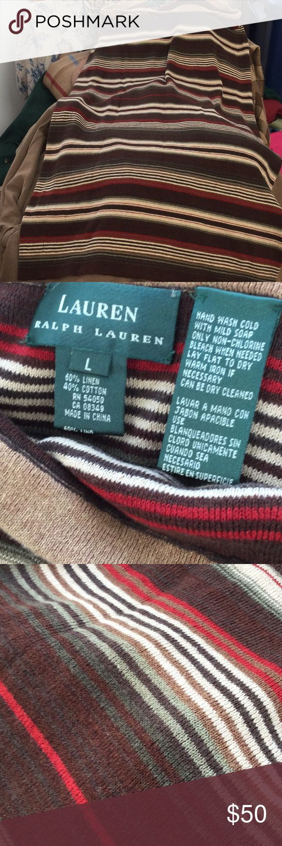 RL winter tube skirt, L Really nice Ralph Lauren fall and winter colors in a knit straight long skirt. Linen and cotton. Hand wash. Worn one time. Lauren Ralph Lauren Skirts Maxi