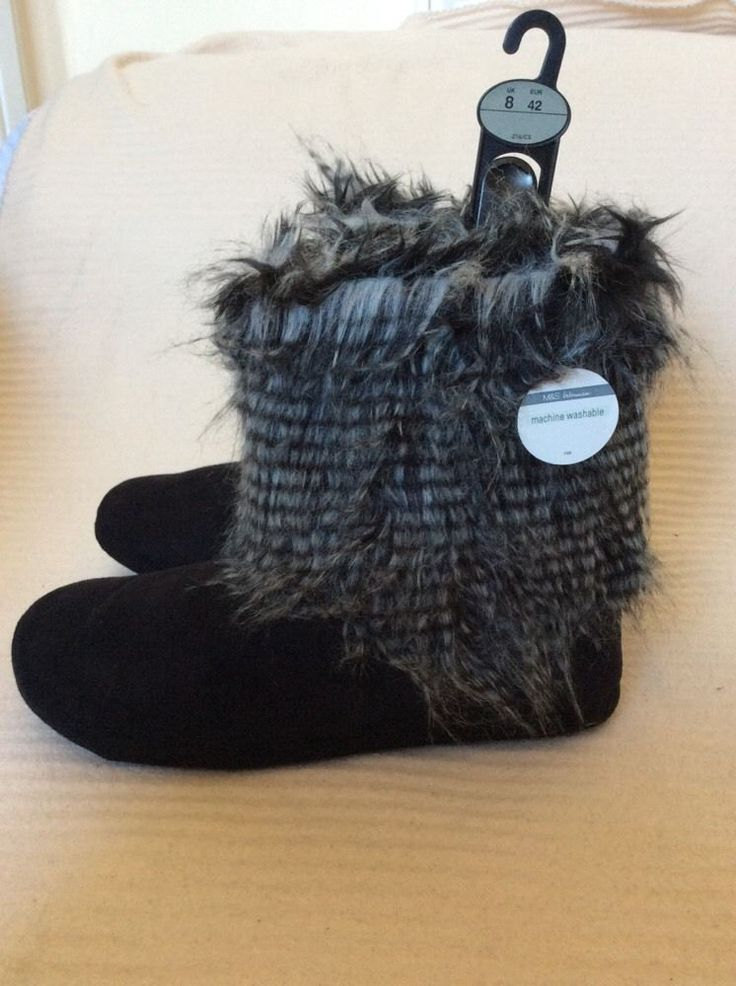 M&S PER UNA Ladies slippers BOOTS UK8,EU42,about:11 or 28cm BNWT Black mix
