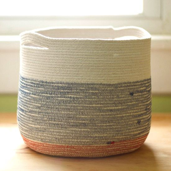 Cotton cord and thread in a zig-zag stitch is all it takes to make this sturdy vessel!