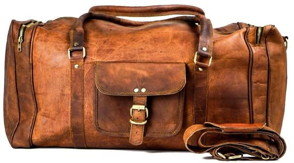 "Vintage Handmade Leather Military Style Duffel Bag Overnight Bag Weekender Bag 18"" - Vintage Leather"