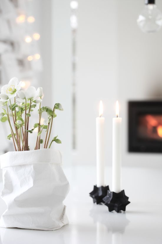 gorgeous Christmas styling by elisabeth heier: S T R Å L A N D E J U L Does anyone know where the bag planter is from please?