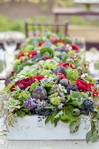 Organic textured table runner. - very cool - could use any colors - length of table and great mix of succulents and ornamental perennials