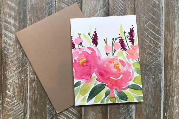 Hand Painted Greeting Cards With Flowers In 2020 Watercolor