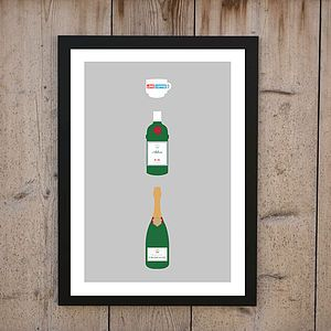 Love Coffee Adore Gin Worship Champagne Print - posters & prints