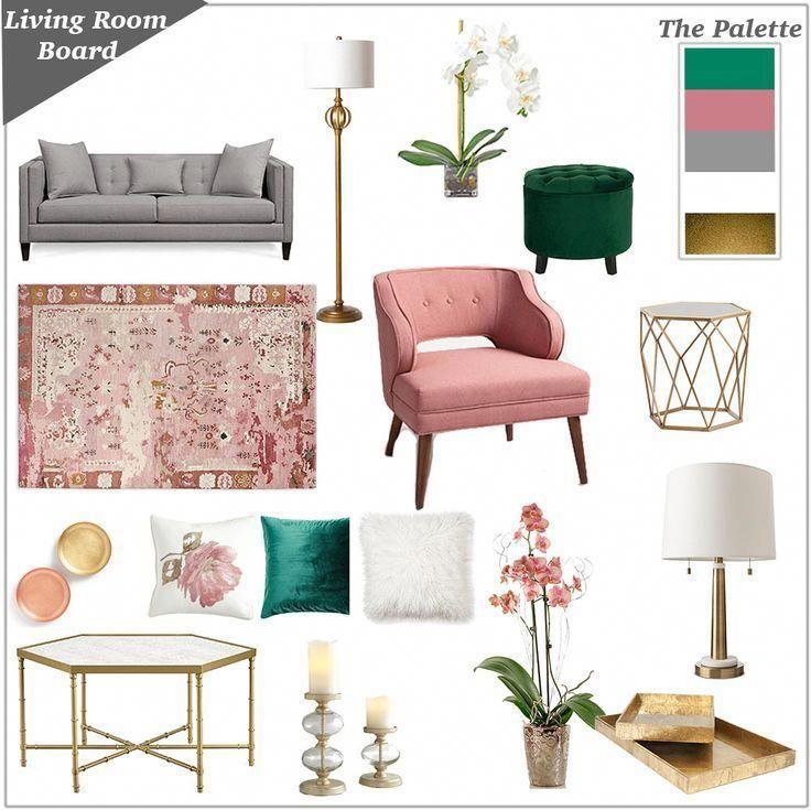 Emerald Pink And Gray Pinkandgoldbedroom Girly Living Room Living Room Inspiration Board Pink Living Room