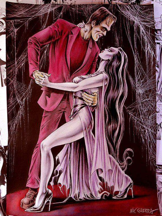 Original Nik Guerra art illustration / Herman & Lily dancing / Mixed Media superb drawing sexy