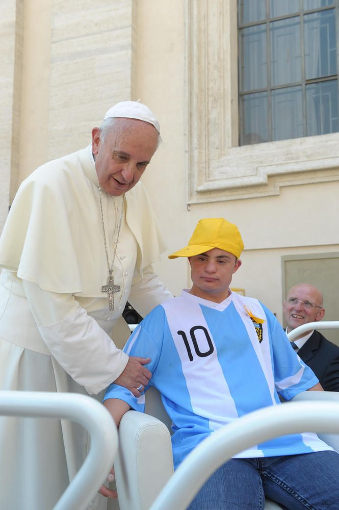 Best Pope Francis Photos: The Pontiff's Most Moving Moments. Pope Francis has given a 17-year-old boy with Down Syndrome the ride of his life – sort of. Francis invited Alberto di Tullio up onto his open-top Mercedes at the end of his general audience Wednesday, letting him spin around on the pontiff's white chair while tens of thousands of people looked on.