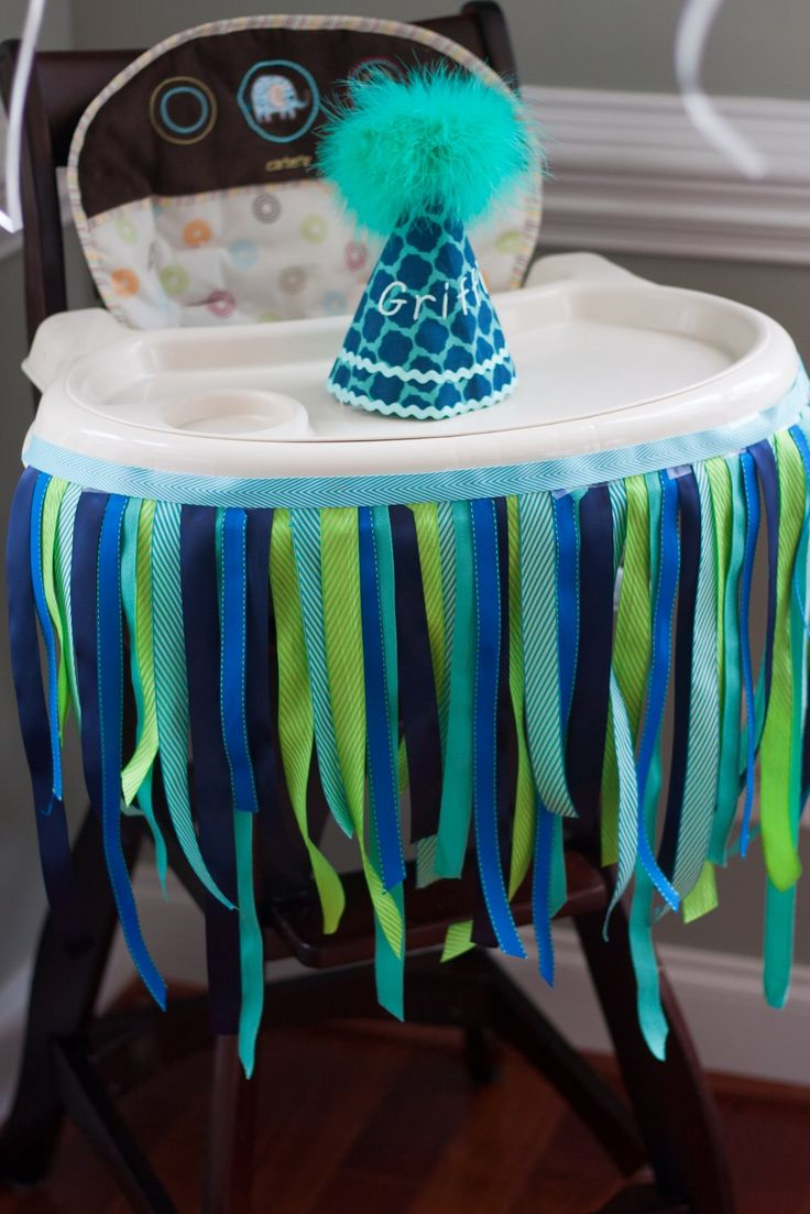 Birthday table decorations boy - Decorated High Chair With Ribbon And Custom Birthday Party Hat 1st Birthday Party