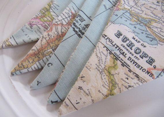 Beautiful Vintage Map Print Fabric Bunting - Blue White Pink Green Map Print Fabric Garland Bunting