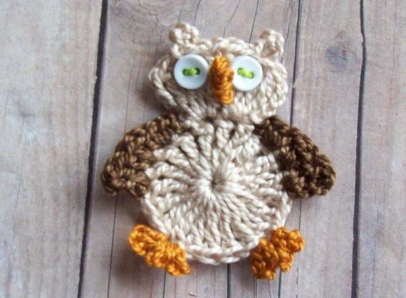 Crochet Owl Applique--Ecru and Brown: Crochet Owls, Owl Handmade, Delight Owl, Owl Crochet, Crochet Owl Appliques, Owl Eulen Gufi, Owl Appliques Ecru, Owl Applique Ecru, Gufi Owl