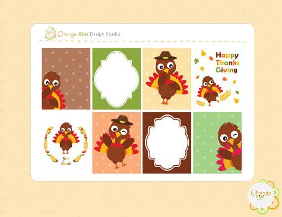 Thanksgiving Full Box Planner Stickers Turkey Planner