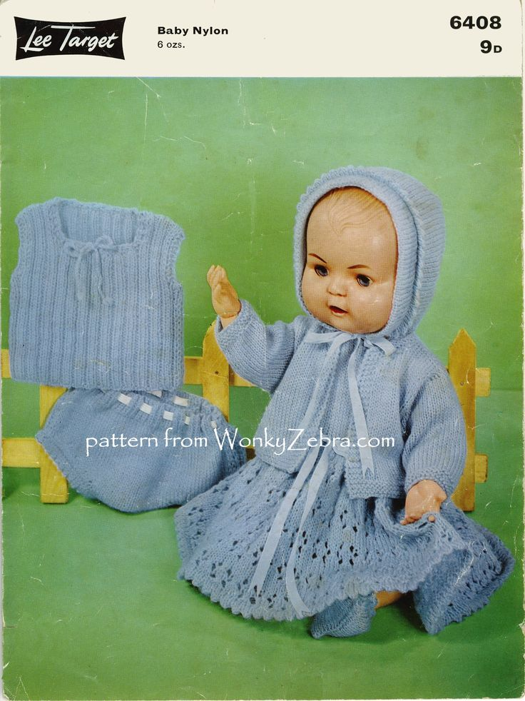 WZ233 pattern PDF from WonkyZebra.com for a vintage baby doll wardrobe for a 16 inch baby doll.A lovely lace dress, with jacket, bonnet, bootees and undies.(shame this doll looks a bit cross-but it wasn't because of her pretty clothes! The original pattern was  LeeTarget6408