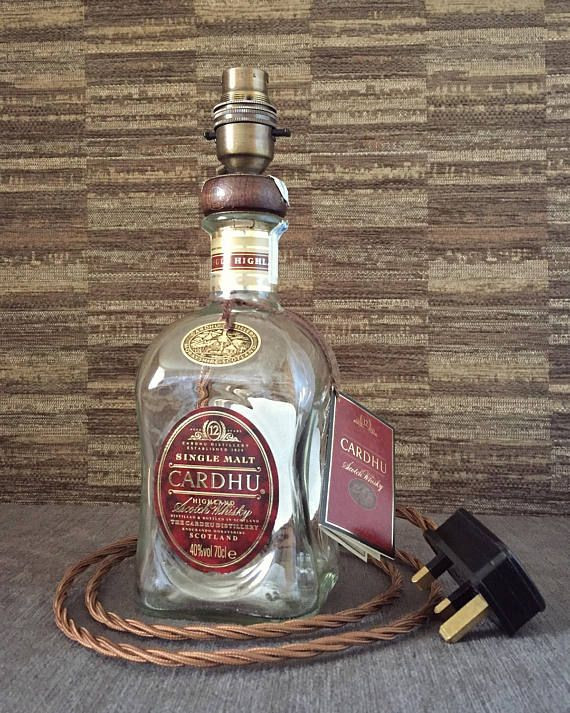 Cardhu Whisky Bottle Lamp With Brown Shade Upcycled 70cl